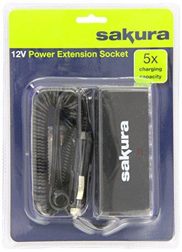 Sakura SS5105 Alargador para mechero de coche, 12V, 3 Enchufes de Mechero y 2 Puertos USB 4