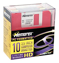 "Memorex Mf2hd 3.5"" Ibm-formatted High-density Floppy Disks (Colors, 10-pack) (Discontinued By Manufacturer)"