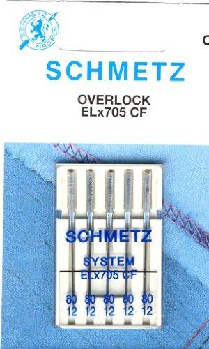 5 Schmetz Agujas para M/áquinas de Coser para m/áquinas overlock ELx705 SUK CF grosor{80}// 12