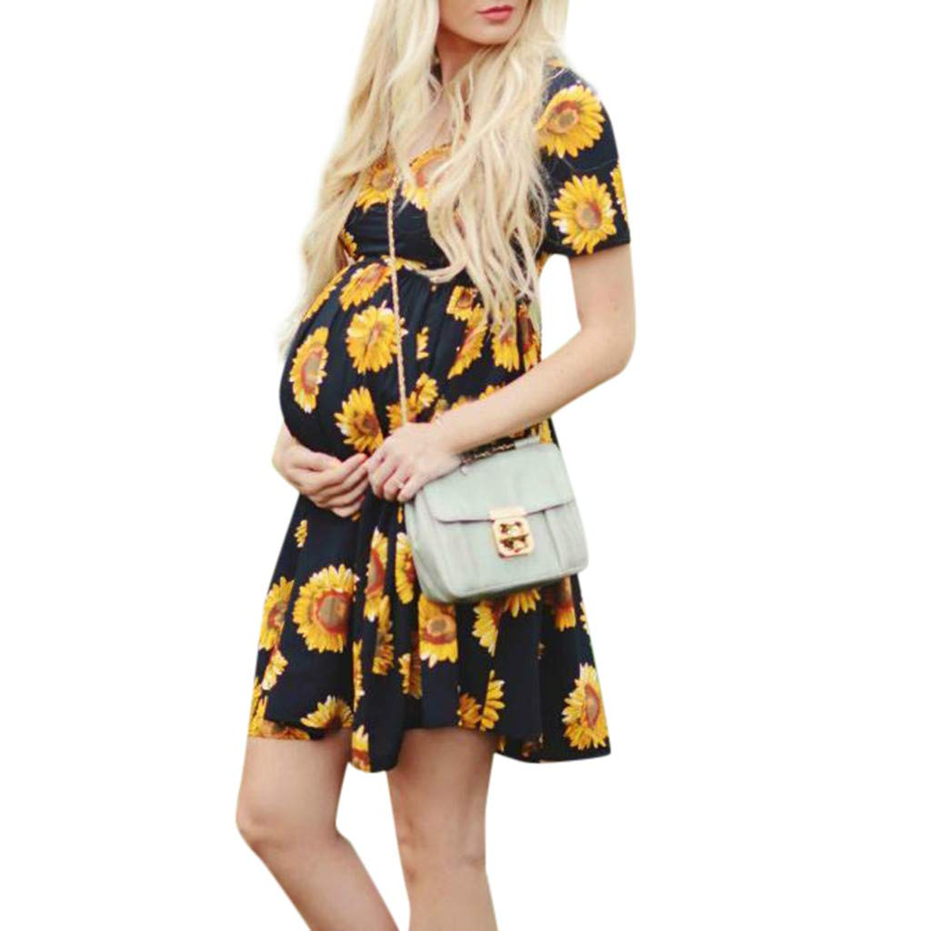 Winsummer Womens Sunflower Maternity Nursing Short Sleeve Dress Pregnancy Gown Hospital Breastfeeding Dress Black