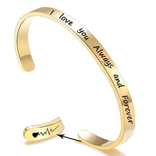 EGOO YAMEE 'I Love You Always and Forever' Inspirational Cuff Bangle Bracelets, Jewelry for Women, Girls, Wife, Her, Mom