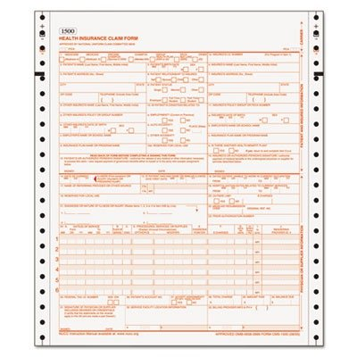 TOPS CMS-1500 Health Insurance Claim Forms, 2-Part Carbonless, Continuous, 9.5 x 11 Inches, 1500 Sheets per Carton (50124RV)