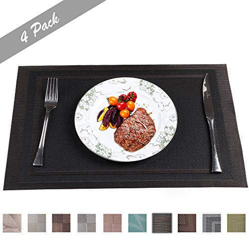 PREMIUM CARE Set of 4 Placemats for Table Heat-Resistant Skid-Proof Table Mats Dining Table Woven Stain Resistant Easy to ()