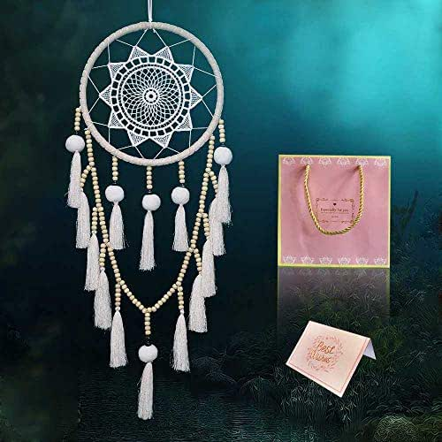 MEETY Dream Catchers Handmade WhiteCircular Net with Tassel for Weddings, Kids Bedroom Wall Hanging Native American Decor Ornament Crafts, Dia 8 Inch Length 29.5 Inch (White Tassel Long Section)