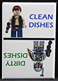 Clean / Dirty Han Solo & Boba Fett Dishwasher Magnet. Star Wars