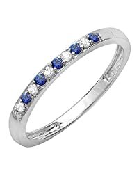 10K White Gold Round Blue Sapphire And White Diamond Ladies Anniversary Wedding Band Stackable Ring
