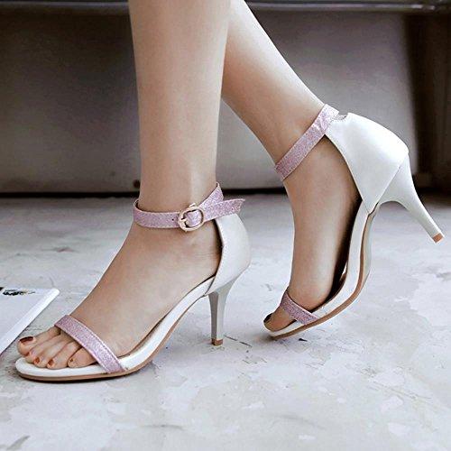 TAOFFEN Mujer Zapatos Moda Punta Abierta Tacon Alto Tacon De Aguja Sandalias De Hebilla Blanco