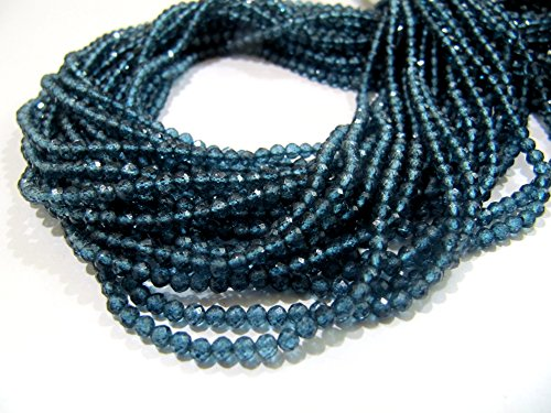 AAA Quality Topaz Rondelle Faceted Beads, London Blue Topaz color 3 mm beads, Gemstone Strands, 13 inches
