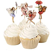 BETOP HOUSE Set of 24 Pieces Fairy Flower Theme Party Decorative Cupcake Topper Girl Birthday Party