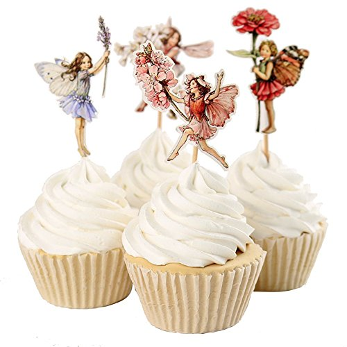 BETOP HOUSE Set of 24 Pieces Fairy Flower Theme Party Decorative Cupcake Topper Girl Birthday Party (Cake Birthday A Decorate)