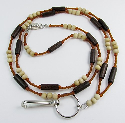 Unisex Breakaway Lanyard ID Badge Holder with Magnetic Clasp - Wood & Glass - Artisan Beads Natural