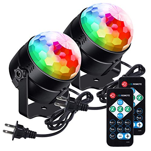 [Newest 2019]LUNSY Sound Activated Party Lights with Remote Control Dj Lighting, RBG Disco Ball, Strobe Lamp 7 Modes Stage Par Light for Home Room Dance Parties Bar Xmas Wedding Show -