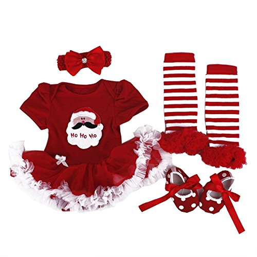 BabyPreg Baby Girls My First Christmas Santa Costume Party Dress 4PCS Christmas Santa)