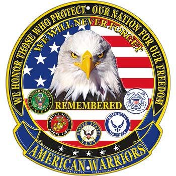 (American Warriors Sign, We Will Never Forget, Remembered, Army, Marines, Navy, Air Force, Coast Guard by EE, Inc.)
