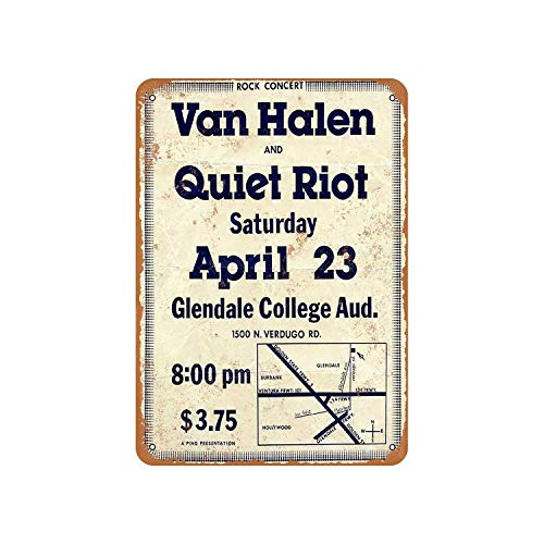 Fhdang Decor Vintage Pattern 1977 Van Halen and Quiet Riot at Glendale Vintage Look Aluminum Sign Metal Sign,12x18 Inches