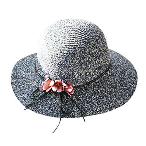 Weiliru Women Foldable Straw Hat Bowknot Edge Wide Brim Beach Sun Hat -