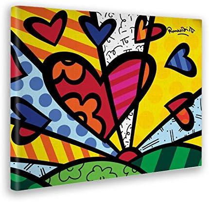 Giallo Bus 774 Quadro Stampa Su Tela Canvas a New Day Romero Britto 50 x 70 cm