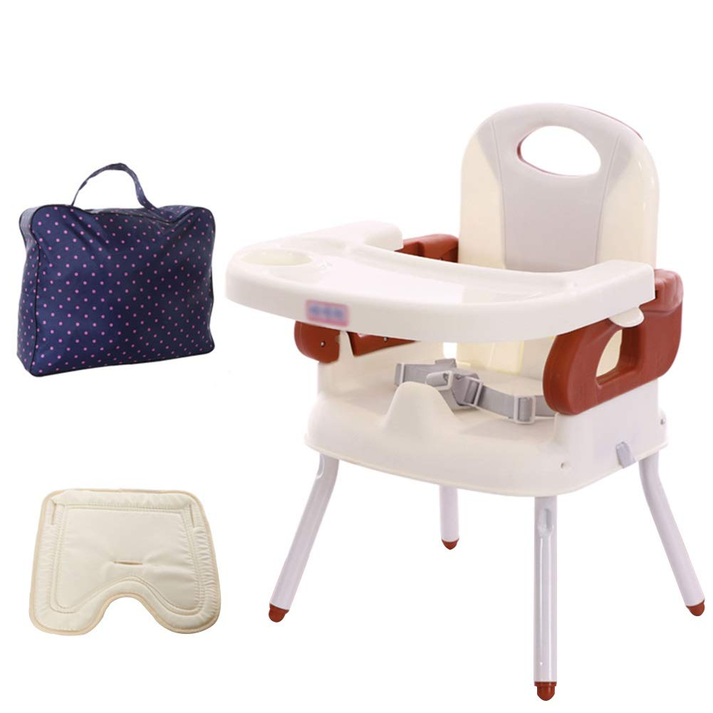 BROWN Baby High Chair from 6 Months - 3 Years Old Baby, Fashion Multi-Function Light High Chair, Folding Portable Baby HighChairs (color   Brown)