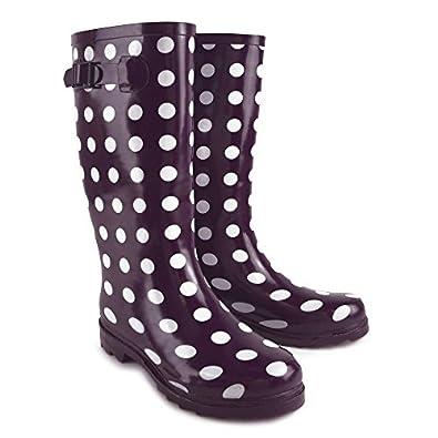 Ladies Purple with Spot Print Tall WelliesWellington Boots
