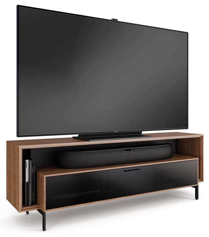 amazoncom bdi cavo triple wide tv cabinet walnut kitchen u0026 dining