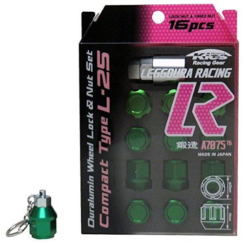 【緑グリーンP1.5】キーホルダー付 KYO-EI 協永産業 キックス アルミ系 カラー ホイールロックナットセット 16個セット B076BDH9MN