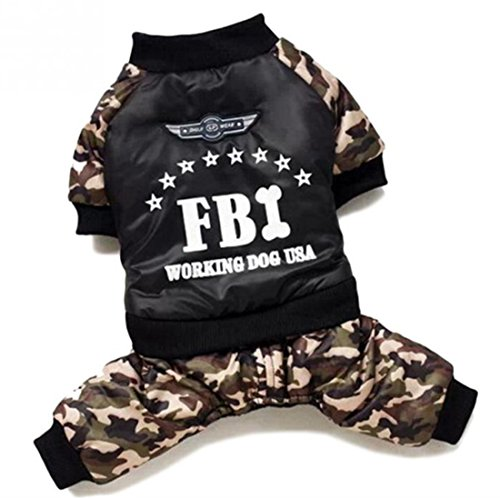 Idepet Pet Dog Cat Cold Weather Coats with FBI Words Yorkshire Chihuahua Teddy Poodle Jacket Warm Clothing Camouflage Color Size S M L XL XXL (XXL)