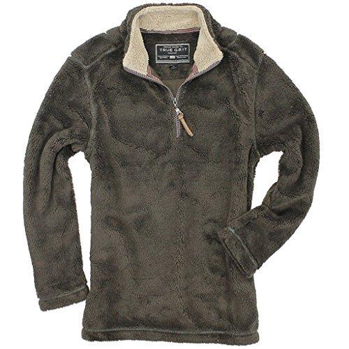 True Grit Men's Pebble Pile 1/4 Zip Pullover, Vintage Brown, XS