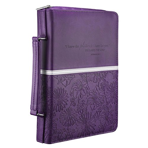 Purple Bible Cover (Floral Embossed Bible / Book Cover - Jeremiah 29:11 (Large,)