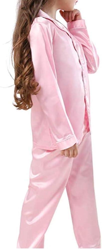 zhengzhououqiandianzi Kid Baby Pajamas Set Toddler Girls Boys Silk Homewear Soft Satin Long Sleeve Sleepwear 2 Piece Set