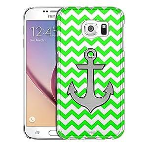 Samsung Galaxy S6 Case, Slim Snap On Cover Anchor on Chevron Zig Zag Green White Case