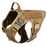 ICEFANG Dog Modular Harness,Military K9 Working Dog Tactical Molle Vest,No Pulling Front Clip, Hook and Loop Panel for Dog Patch,Metal Buckle (XL (32'-39' Girth), CB-2x Metal Buckle)