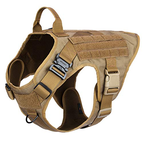 ICEFANG Dog Modular Harness,Military K9 Working Dog Tactical Molle Vest,No Pulling Front Clip, Hook and Loop Panel for Dog Patch,Metal Buckle (XL (32