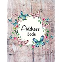 Address Book: Large Print - My Address Book(Floral and Wooden Style Design) - 8.5x11 Alphabetical With Tabs - For Record Contact, Address, Birthdays, Mobile, Email: Address Book Large Print