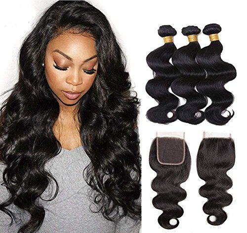Jaycee Hair 8a Brazilian Virgin Human Hair Body Wave Weft 3 Bundles with 1piece Free Part (4x4) Lace Closure 100% Human Hair Extensions Natural Color(14 16 18+12)