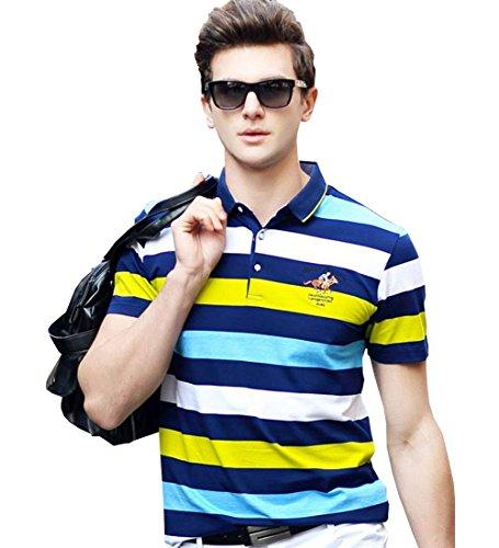 PuHao (プハオ) メンズ ポロシャツ 半袖 夏  ボーダー カジュアル スポーツウェア ゴルフウェア シンプル 通気性 薄手 吸汗 polo ファッション カッコイイ Tシャツ (グリーン01, XL)