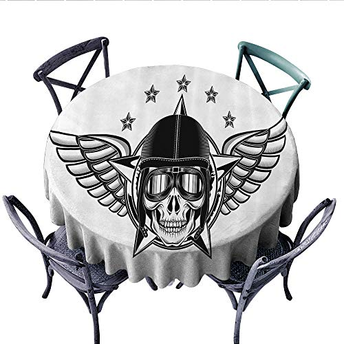 (Skulls Decorations Collection Customized Round Tablecloth Skull Pilot with Eagle Wings and Stars Fast Day of The Dead Bones Print Waterproof Circle Tablecloths (Round, 50 Inch, Black White))