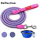 FAYOGOO 6 Feet Dog Leash, Reflective Rope Nylon Dog Training Leashes Soft Handle - Heavy Duty Walking Leash Medium Large Dogs Collapsible Dog Travel Bowl, Pink