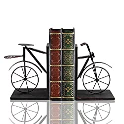 Bicycle Bookend Pair, Front and Back, Iron 8 Inches Tall, Heavey Duty Skid Free. By Mega Stationers