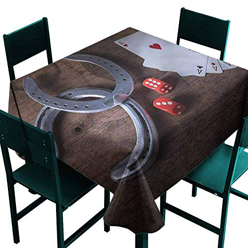 DONEECKL Polyester Tablecloth Western Card Game Dices Horseshoes Table Decoration W54 -