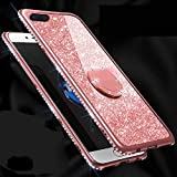 Amocase Glitter Case with 2 in 1 Stylus for Samsung Galaxy S10E,Luxury Girly 3D Diamond Bling Crystal Soft Silicone Rubber Clear Cover Case with 360 Ring Stand Holder - Rose Gold