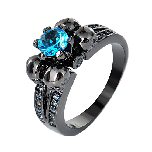 Bamos Jewelry Halloween Best Friend Water Blue sapphire and Four Skulls Black Gold Engagement Wedding Rings for Womens Size 6-10(8) (Best Female Characters For Halloween)