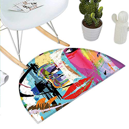 Art Semicircular CushionContemporary Paint Strokes Splashes Face Mask Paint Kiss Graffiti Grunge Creative Theme Entry Door Mat H 23.6