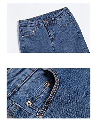 Elástico Ajuste Pantalones Alta Azul De Mujer Jeans Boyfriend Suelto Mezclilla Vaqueros Pantalon Cintura Anchos xCqxYIwE