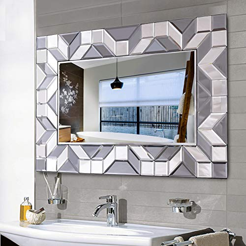 WATERJOY Large Framed Rectangular Bathroom Mirror, Sliver Vanity Glass Wall Make-up Mirror, -