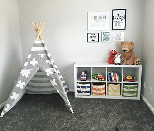 Kids teepee play tent Gray and White stripes by TinyTeepees