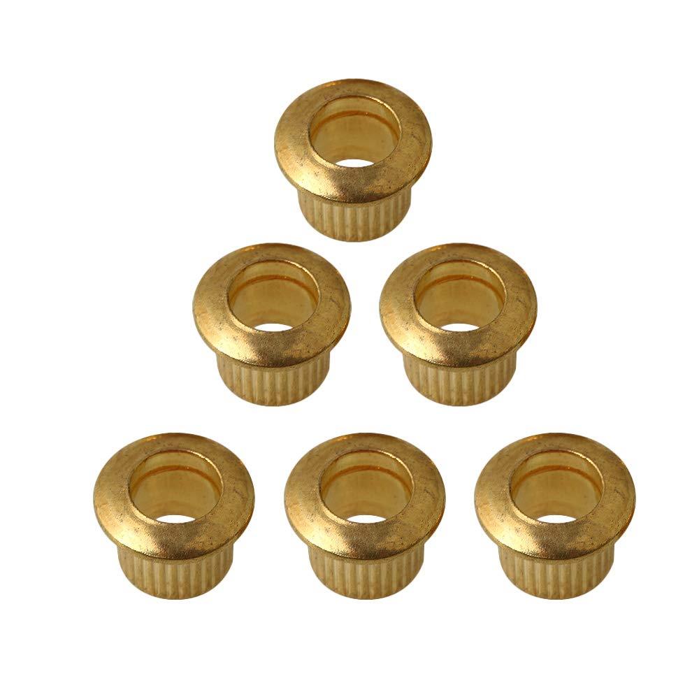 Yibuy 6x Golden Guitar Bushing Ferrules for Tuning Peg Tuner Machine Head 11mm