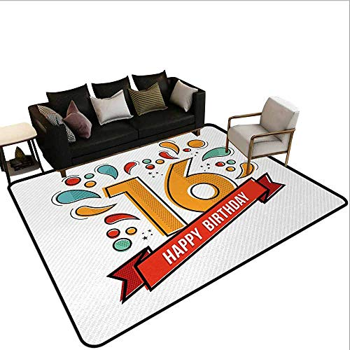 AlEASYHOME Collection Area Rug, Festive New Age Modern Party Invitation Funky Teenage Typography Artwork, 3′x5′ Ideal Anti Slip, Multicolor