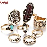 8PCS Womens Beach Boho Knuckle Ring Crystal Flower Turkish Tibetan (gold)