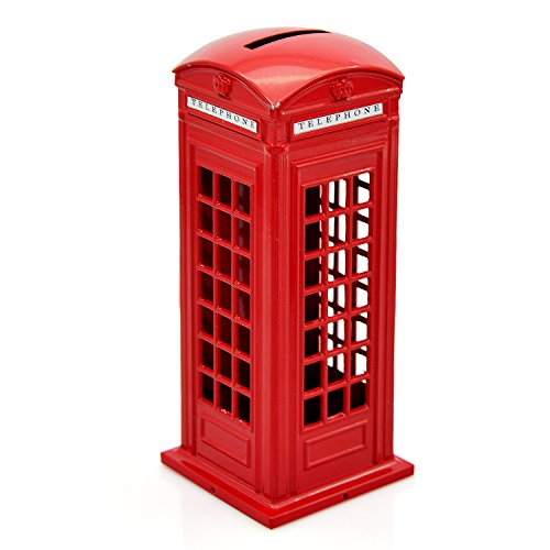 Telephone Piggy Bank, Cafurty Red Metal London Street Telephone Booth Piggy Bank Coin Bank Coin Box - (Birthday Decorations London)