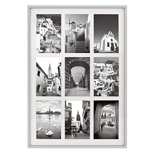 - Golden State Art 13.6x19.7 Silver Aluminum Metal Collage Frame - Ivory Mat Included - Fits Nine 4x6 Photos/Pictures - Sawtooth Hanger - Swivel Tabs - Wall Mounting - Landscape/Portrait - Real Glass